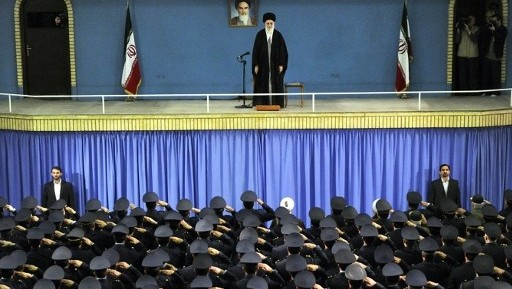Iranian Supreme Leader Ayatollah Ali Khamenei on stage during a meeting with Iranian air force commanders in Tehran